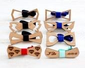 Wedding Wooden bowtie - set of Groomsmen gifts  - Wedding day keepsake gift for the groom