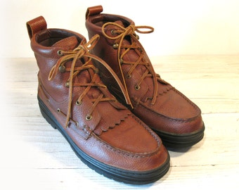 Vintage Cowboy Work Boots, Durango Saddle Tan Leather Lace Up Chukka, Men's size 10.5 D