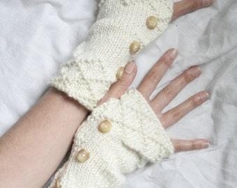 Fingerless arm warmers - knitted Irish wool - diamond brocade - Made in Ireland - cream