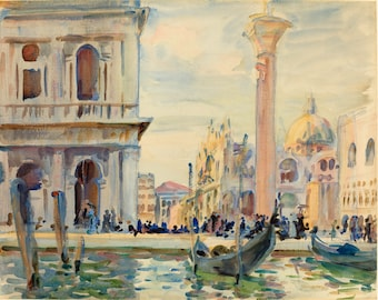 John Singer Sargent Watercolor Reproductions. Piazetta, Venice, c. 1911 - Fine Art Print.
