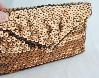 Clutch - Brown Sequins Beaded Walborg Envelope
