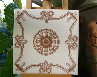 vintage H & R Johnson,glazed porcelain ceramic wall tile-white brown Philkerm-1960's-6'' x 6''