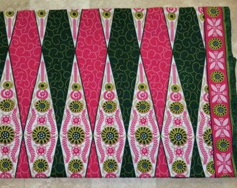 Pink & Green Diamonds Ankara Cloth Headwrap - 100% cotton - 1 yard
