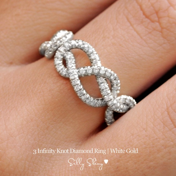 Triple Infinity Knot Ring, 0.75 CT Diamond Wedding Band, 14K Gold Wedding Ring, Cluster Ring, Art Deco Ring, Infinity Ring