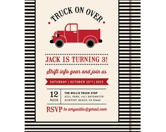Old Vintage Red Truck Birthday Invitations