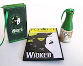 Wicked the Musical /Set of 3 / Christmas Ornament / Green Elixir Bottle / Playbill / Holiday / Gift Tag / Broadway / Oz / Defy Gravity