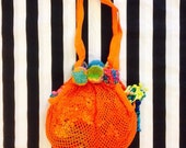SWING Shopping Bag Net Mesh in Cotton Customised with Pom Poms