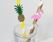 Flamingo & Pineapple Paper Drinking Straws ~ Cocktail Straws ~ Set of 10