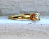 Classic Vintage 14K Yellow Gold Diamond Solitaire Engagement Ring - 0.25ct