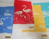 Vintage Screen Print Linen Towels, Colorful Waterfowl Towels, Set of 4, Never Used