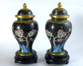 Pair Chinese Black Cloisonne Jars with Lid, Vintage Cherry Blossom Vase, Ginger Jar Chinoiserie Wood Stand, Gold Black