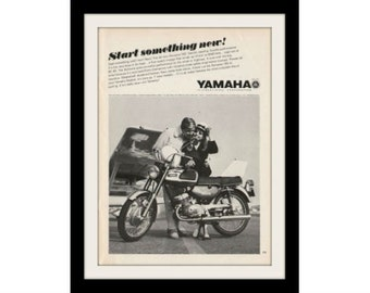 1967 YAMAHA Bonanza & Airplane Motorcycle Ad, Vintage Advertisement Print