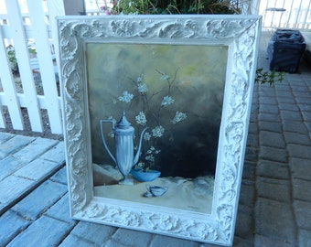 Painting on Canvas - White Shabby Frame - Carved Wood Frame - Cottage Style Frame - Large Shabby Frame - Large Vintage Frame