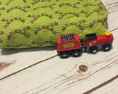 Green, Red and Blue Train Crib Sheets