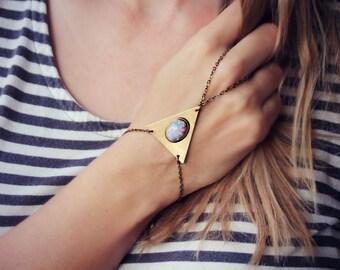 large triangle pink opal slave bracelet, geometric bracelet, bracelet ring, ring bracelet, pink opal bracelet