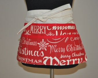 Christmas Apron, Red and White Apron, Utility Apron, Womens Vendor Apron, Teacher Apron, Carpenter Apron.  Ready to ship.