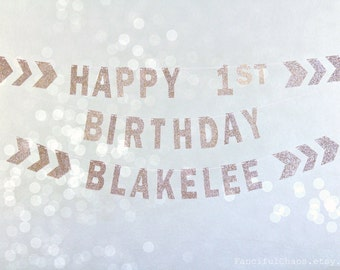 Happy 1st Birthday Gold Glitter Paper Banner Garland- Boho Chevron Arrow Theme Birthday Party Decorations