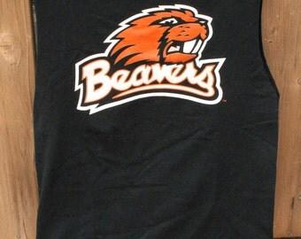 Medium Beavers Upcycled Tshirt Bag / Sleepover Bag / Project Bag