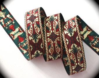 "Christmas Ribbon -3 yds x  1"" Metallic Woven Ribbon - Gold, Maroon and Hinter Green"
