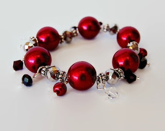Red, black and silver Swarovski dangle bracelet