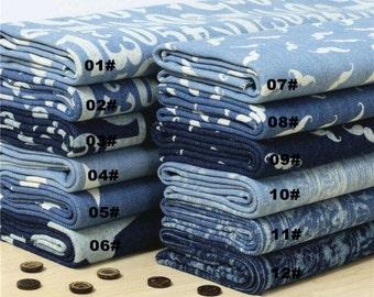 Heavy Denim Cotton Fabric, Washed Denim, Print Blue Denim,DIY,Sewing 1/2 yard  (QT575)