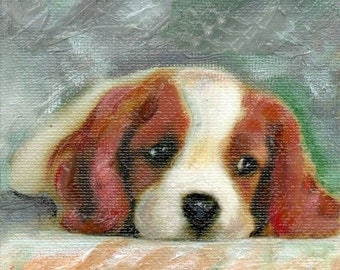 Wall art ORIGINAL Dog small painting canvas on wood  acrylic 4x4