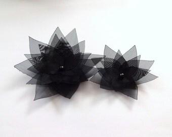 Black Organza Flowers Embellishment