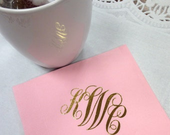 Monogrammed Napkins | Script Monogram | Wedding or Personalized Home Gift | Darby Cards