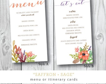Saffron and Sage Printed Menu Card | Menu or Itinerary Card | Printed or Printable by Darby Cards