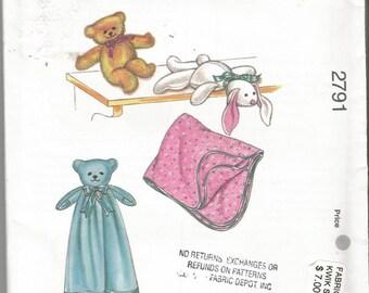 Pattern Kwik Sew 2791  Floppy Bear & Teddy Plus Blankets  Uncut