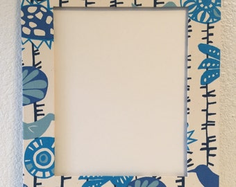 11x14 Fabric Wrapped Photo/Art Mat - Menagerie in Arctic Blue