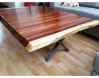 Modern single slab tropical coffee table