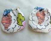 Newborn Scratch Mitten, Newborn gloves Tattoo print Ships and Flowers