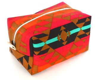 Tribal Makeup Bag - Cosmetic Pouch -  Lunch Bag - Wet Bag -Waterproof Bag