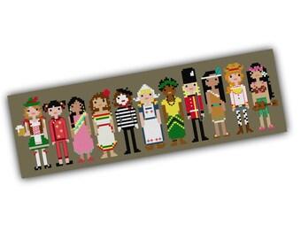 International Girl Pixel People Cross Stitch - Modern Cross Stitch PDF