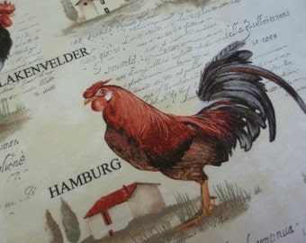 Chicken Fabric, French Vintage, Farmhouse Fabric.