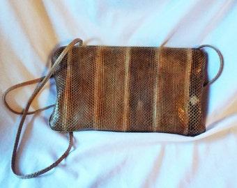 Snakeskin Clutch Leather Shoulder Bag Purse Tan Brown Neutral Animal Print