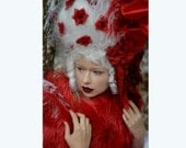 READY TO SHIP Marie Antoinette white and red headdress headpiece wig fantasy burlesque french baroque roccoco