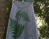 blue natural fern print tank top earthy botanical Alabama  limited edition