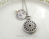 Essential Oil Diffuser Locket Namaste Pearl Necklace Lotus flower  (bc)