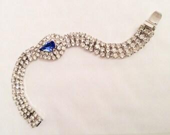 Blue Rhinestone Bracelet, Art Deco Revival, Bridal Vintage Jewelry, SUMMER SALE