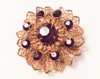 Amethyst Rhinestone Flower Brooch Filigree Victorian Revival Vintage Jewelry, SUMMER SALE