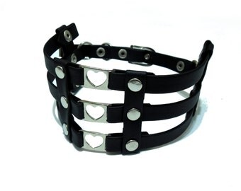 Cage Collar. Multi Hearts Choker
