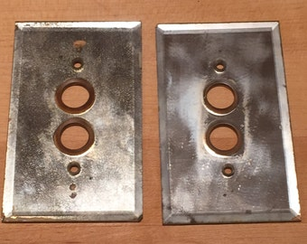 2 antique mirror switch plates crazing switchplate light switch vintage push button gang