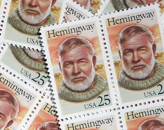 50 pieces - 1989 25 cent Ernest Hemingway - Vintage unused stamps - great for wedding invitations, save the dates
