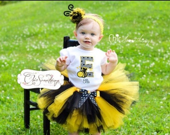 bee tutu, beeday Tutu, bee birthday, bee costume, baby bee halloween costume, first beeday, bumble bee tutu, beeday tutu, bee tutu UD