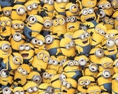 One in a Minion Cotton Fabric Stacked Minions Despicable Me Quilting Crafts sewing decorating