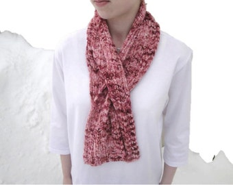 Keyhole Scarf, Pink Chenille, Pull Through Scarf, Office Scarflette, Neck Warmer