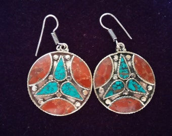 Gorgeous Bohemian Nepalese Trio Turquoise wtih Coral Earrings