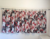 Vintage Curtains, Red, Black and Silver Vintage Mid Century Modern Curtain Panels, Vintage 4 Piece Pleated Curtains, Mod Retro Curtains